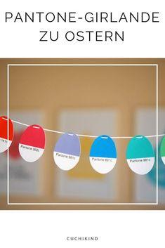 Lauter bunte Eier in Pantone-Farben zum Ausdrucken. Eine Regenbogen-Girlande zu Ostern. Zum Ausdrucken als Freebie und nachmachen.  #freebie #ostern #pantone #ostereier Pantone, Diy Upcycling, Freebies, Diy For Kids, Chart, German, Easter, Blog, Bricolage