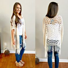 TRY TO FIGURE OUT PATTERN  Layla Crochet Fringe Cardigan