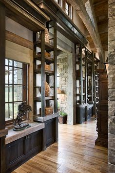 Wyoming Residence Passage/ Hall by Locati Architects, Photography by Roger Wade Studio, Jackson Hole, Wyoming.