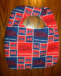 Hand Crafted University of Mississippi Ole Miss  Baby Bib NEW Free Shipping