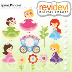 Spring princess cliparts. Cute girls with flowers and more! These   digital images  are  great for any craft and  creative     projects
