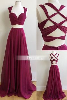 Unique two pieces burgundy prom dress, burgundy evening dress
