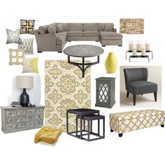 Grey and yellow living room by avivavikstrom on Polyvore featuring polyvore, interior, interiors, interior design, home, home decor, interior decorating, Cost Plus World Market, EASTON and angelo:HOME