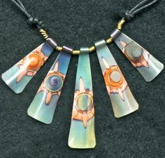 Oxidized copper jewelry, green 5 piece choker, $35.0