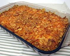 Doritos Taco Bake (original pin from PlainChicken.com)      My family loved this, and just like the original recipe suggested I added a few extra ingredients. I used 2 lbs of beef, a small can of diced mild green chilis and chopped green onions on top.  I served it with sour cream and avacados. Yummy. This will be a great dish for pot lucks or when I need to take a meal to a friend.