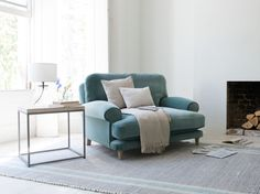 Slowcoach love seat in our Sea Blue vintage velvet - bay window armchair shutters Home Living Room, Living Room Furniture, Living Spaces, Comfy Armchair, Teal Armchair, Bedroom Armchair, Velvet Armchair, Loveseat Sofa, Settee