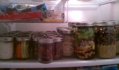 One Week of food and Snack in a mason jars. Just grab and go. What is in each jar: That is 4 oz of greek yogurt with 3 oz of frozen fruit. My choice this week is mango. Then it is carrots and celery, then 3 oz of grapes, then steel cut oats, then my Garbage Salad, then Quinoa and roasted vegetables with 3 oz of meat.