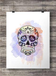 Watercolor Sugar Skull Printable wall art by SouthPacific (Art & Collectibles, Prints, Digital Prints, printable, vintage, print, mexico, sugar skull, dia di los muertos, day of the dead, mexican, halloween, watercolor, sugar skull print, sugar skull art, watercolor skull)