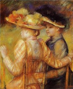 Two Women in a Garden - Pierre-Auguste Renoir Completion Date: 1895 Style: Impressionism Period: Later Years Genre: genre painting Gallery: Private Collection