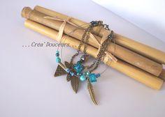 Bracelet multi-rangs façon Gri-Gri style Ethnique breloques couleur bronze et perles tons bleus et turquoise : Bracelet par crea-douceurs