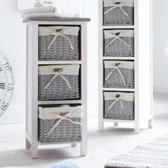 3 Drawer Storage Cabinet with Wicker Baskets