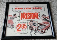 Vintage Prestone Anti-Freeze Brand Vintage ad 1954 Black Framed Automobile Ads