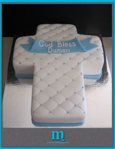 Baptism cake with Chanel style tufting