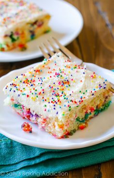 "This sheet cake puts the ""fun"" in ""funfetti."" Get the recipe from Sally's Baking Addiction.   - Delish.com"