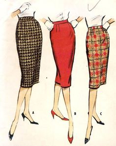 1950s Office Fashion Misses' Proportioned Skirt **VINTAGE** My grandmother had sooo many in her closet~~ She was a seamstress~:-)...