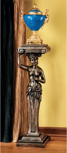 French Provincial Caryatid Pedestal Statue