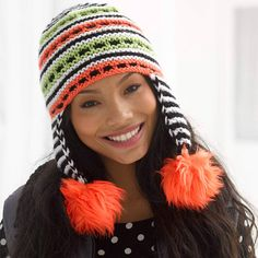 Lion Brand Vanna's Choice Slip Stitch Pom Hat #knit #pattern