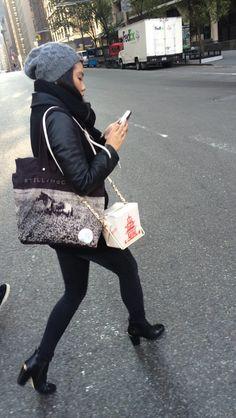 La Dolce Gia Kate Spade take-out bag #nycstreetstyle #ootd