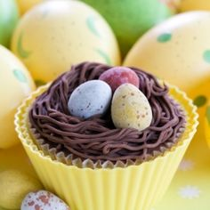 Double Chocolate Birds Nest Cupcakes for Easter!