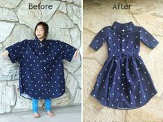 DIY: Men's XL shirt into a little girl's dress – Kindermode sommer Diy Clothing, Sewing Clothes, Men Clothes, Boutique Clothing, Goodwill Clothes, Reuse Old Clothes, Clothes Refashion, Style Clothes, Dress Clothes