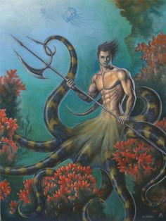 Triton - Trumpeter of the sea and messenger of the deep. And let's not forget that he's Poseidon's son
