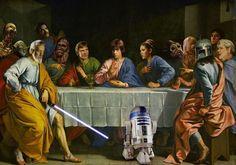 Star Wars Last Supper Art Poster Last Supper Photo, Last Supper Art, The Last Supper Painting, Unique Funny Gifts, Star Wars Painting, Funny Wall Art, Star Illustration, Star Wars Luke Skywalker, Anakin Skywalker