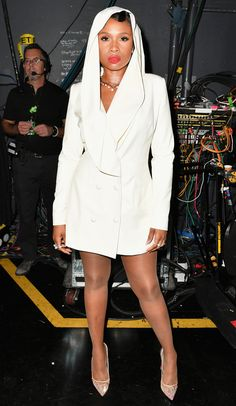Jennifer Hudson in a white custom Christian Siriano hooded minidress (inspired by Prince) at the 2016 BET Awards