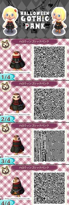 Animal Crossing New Leaf QR codes - golthic pank black and red Halloween dress (best with black fishnets and mary janes)