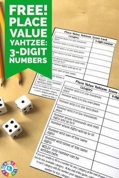 This FREE Place Value Yahtzee game makes practicing place value to the hundreds place fun... plus it really makes students think!