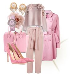 """""""Feeling pink!!!!"""" by aleta-ashley on Polyvore featuring Ermanno Scervino, Topshop, Michael Kors, Gianvito Rossi, Chicwish, Accessorize, Carolee, bürgi, women's clothing and women"""