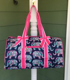 Pink and Navy Elephant Design Quilted Duffle Bag with Gray Trim; Gym Bag, Travel Bag, Travel Tote by GebbiesEmbroidery on Etsy