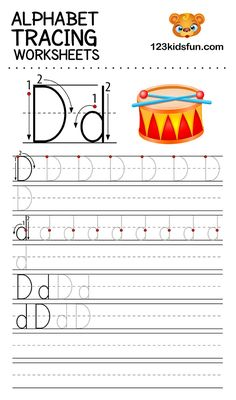 Alphabet Tracing Worksheets A-Z free Printable for Preschooler and Kindergartener. This Alphabet Tracing is a great activity for kids to practice letter recognition and handwriting skills. Printable letter D tracing worksheet. Free Printable Alphabet Worksheets, Printable Preschool Worksheets, Printable Letters, Free Worksheets For Kids, Alphabet Tracing Worksheets, Abc Worksheets, Preschool Alphabet, Handwriting Worksheets, Alphabet Crafts
