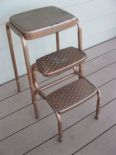 Shabby Metal Cosco Stool- Child's Stool- Step Stool- Kitchen Stool-folding…