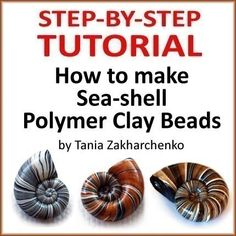 Polymer Clay TUTORIAL Seashell Beads  lesson DIY by 1001ArtBeads, $12.90