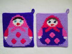 Russian Doll Matryoshka Crochet Pot Holders - Set of 2 £8.00
