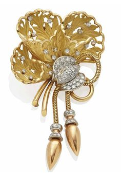 A RETRO DIAMOND, GOLD AND PLATINUM BROOCH, BY MAUBOUSSIN, circa 1948