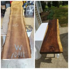 Awesome piece of walnut I transformed into a new fireplace mantle for a…