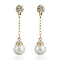 Elegant long largos tassel simulated pearl clip ear,clip earrings no hole for women bride wedding party