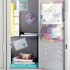 Organize your locker make it unique with Pottery Barn Teen's locker decorations. Find locker shelves and locker accessories to give your locker a boost of personality and style. Locker Mirror, Locker Shelves, Diy Locker, Locker Stuff, Teen Bedding, Teen Bedroom, Cute Locker Ideas, School Locker Decorations, School Locker Organization