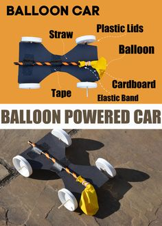 Easy balloon powered car for kids - fun STEM project Lego Balloons, Balloon Cars, Chemistry For Kids, Science For Kids, Science Fun, Steam Activities, Science Activities, Balloon Powered Car, Lego Challenge