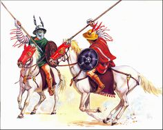 Eques, plural equites, was the regular Latin word for a horseman or cavalryman. In early depictions, these lightly-armed gladiators wear scale armour, a medium-sized round cavalry shield (parma equestris), and a brimmed helmet without a crest, but with two decorative feathers.