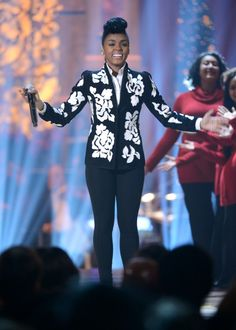 "Hark! The herald angel Janelle sings. Janelle Monáe spreads holiday cheer at TNT's ""Christmas In Washington"" show on Dec. 15 in Washington, D.C."