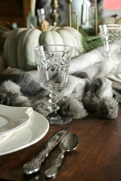 Water Goblets on Thanksgiving Table