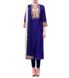 Deep Blue Raw Cotton Silk & Net Kurta With Churidars & Dupatta #indianroots #ethnicwear #kurta #churidar #dupatta #cotton #silk #net #occasionwear #summerwear #eveningwear