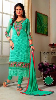Turquoise Pure Georgette Long Length Churidar Kameez YS96053