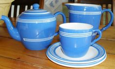 Bretby Teapot, Jug and Cup and Saucer.
