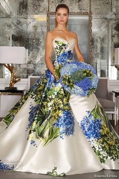 romona keveza fall 2016 luxe bridal gorgeous strapless sweetheart neckline colored blue flower bouquet prints ball gown a line wedding ball gown dress rk6450
