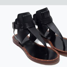 ZARA - SHOES & BAGS - FRINGED LEATHER FLAT SANDALS