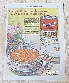 1928 Campbell's Pork & Beans With Beans In Dish