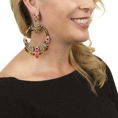 Shop More Earrings from DUBLOS Here. These intricate and superbly crafted DUBLOS earrings are one of the most incredible pieces I have ever seen! The mosaic of colorful strass beads ands stones makes